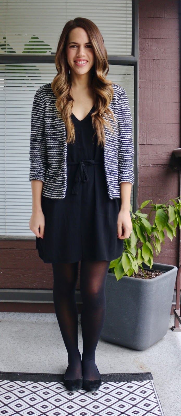 Jules in Flats - Black Tie-Waist Dress with Striped Jacket for Work