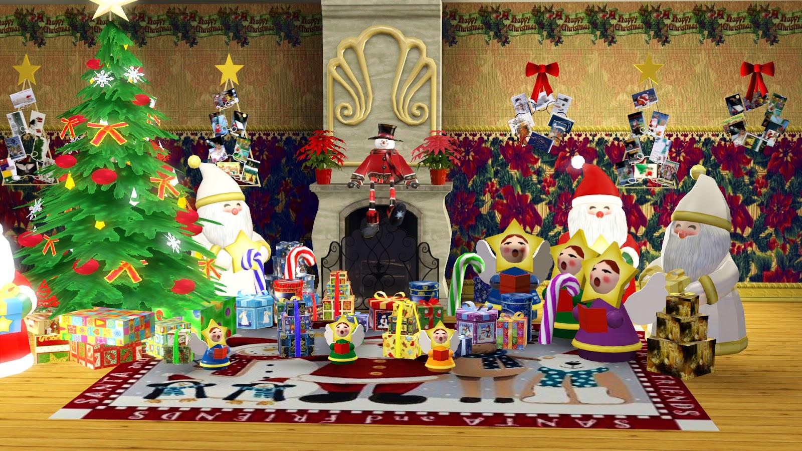 Ladesire 39 s creative corner ts3 christmas decor by ladesire for Christmas mural