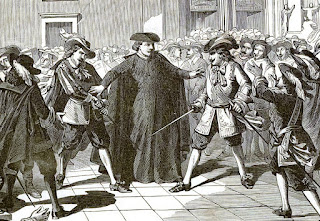 Grabado refleja un momento en que dos caballeros desenvainan la espada rodeados de gente, mientras un cura intenta detenerlos.