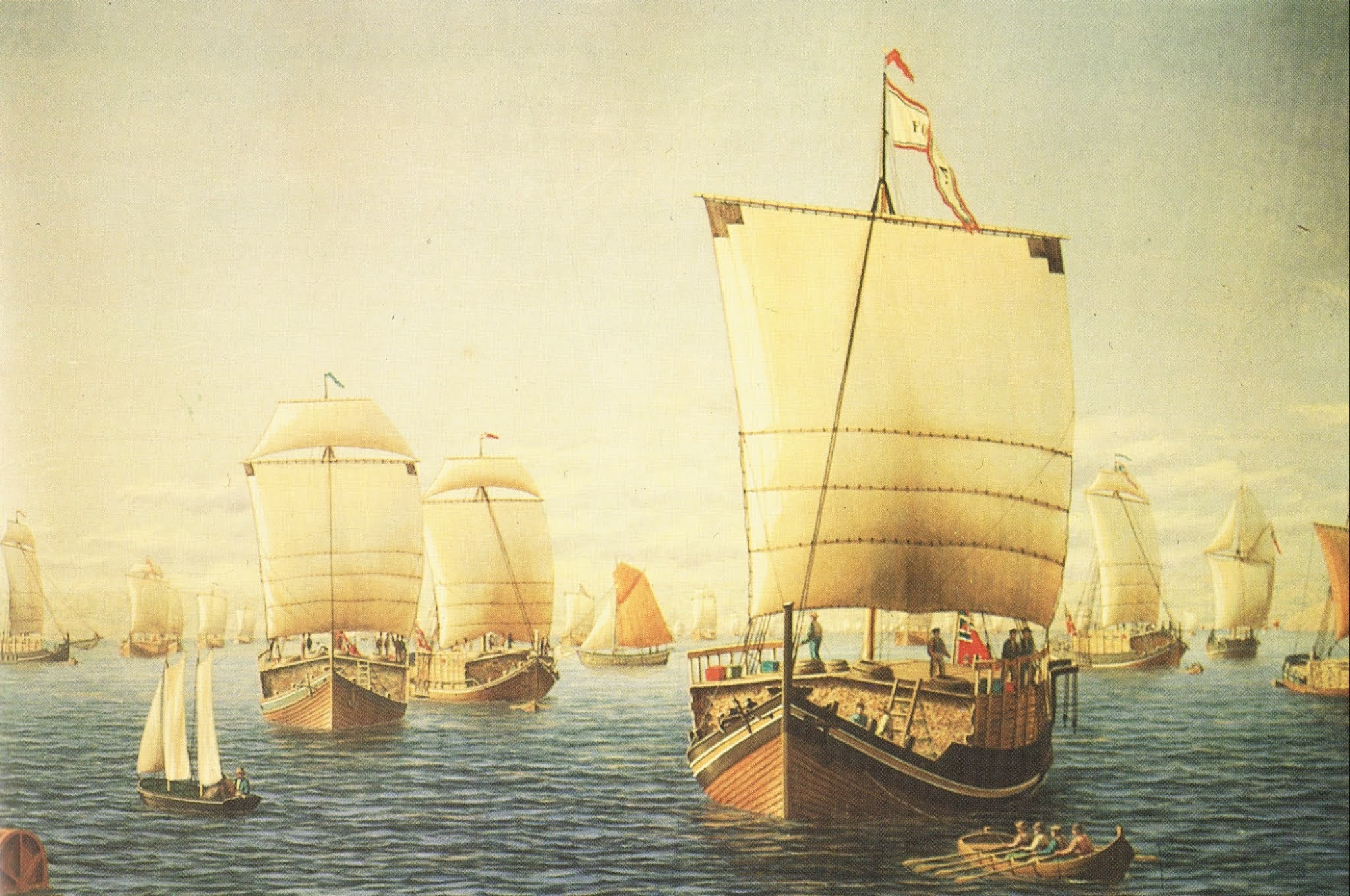 Jekts on their way to Bergen, by Frederik Martin Sørvig (1823–1892). Note how the cargo is stacked up above the gunwales.