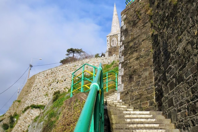 Cork to Cobh: Steep staircase and spire