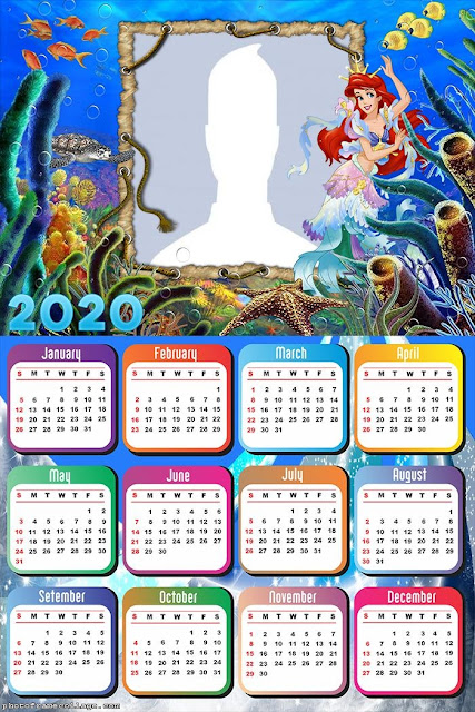 Little Mermaid: Free Printable 2020 Calendar.