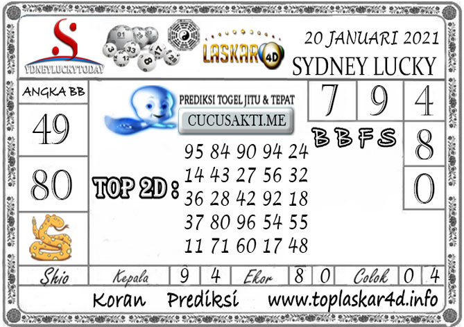 Prediksi Sydney Lucky Today LASKAR4D 20 JANUARI 2021