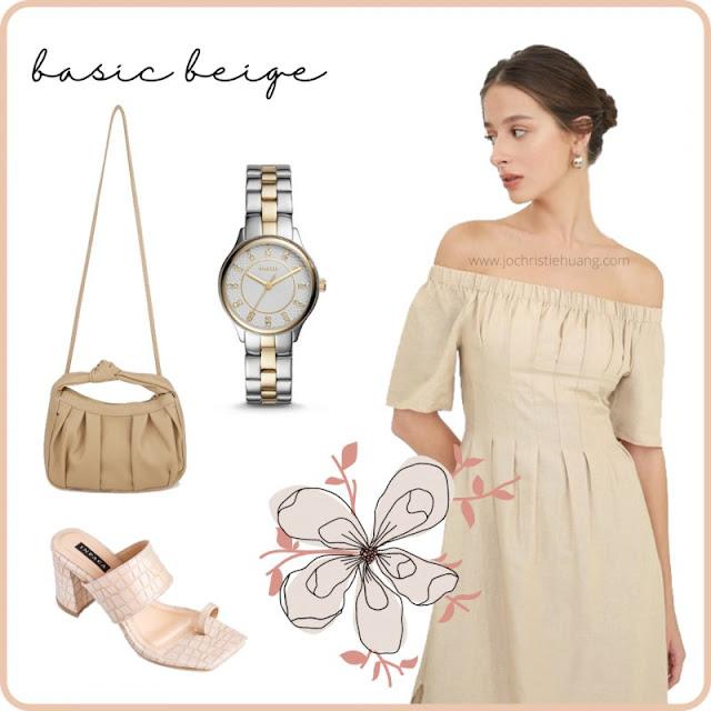 basic beige nude dress