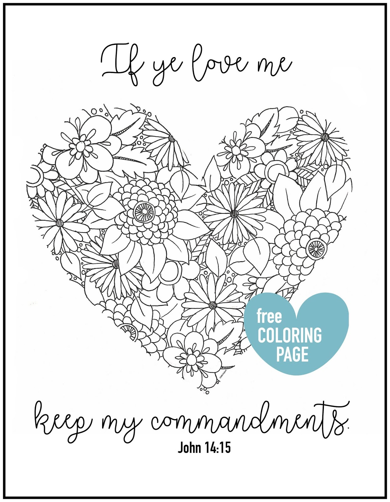 Coloring Page: If Ye Love Me, Keep My Commandments