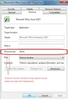 create a new keyboard shortcut key to open Ms-Excel