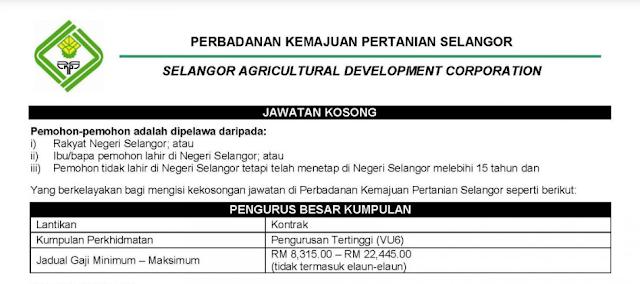 Jawatan Kosong Terkini di Perbadanan Kemajuan Pertanian Selangor (PKPS)