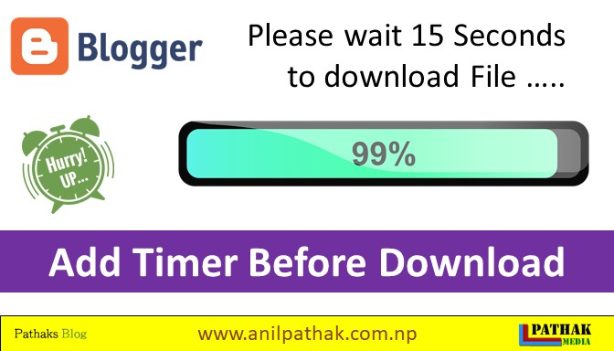 Countdown Timer for Blogger   Add Timer of 15 Second Before Downloading File