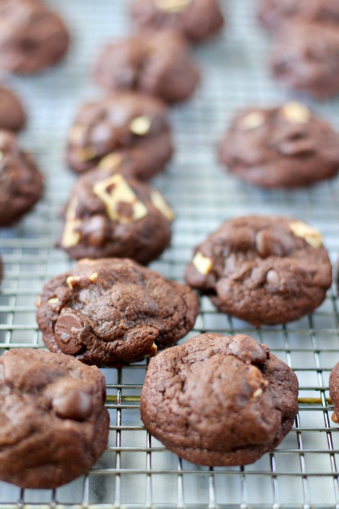 Double Chocolate Chunk Cookies on a cooling rack