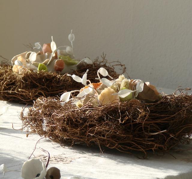 centrotavola per un matrimonio ecologico, colori: arancio, argento, tortora