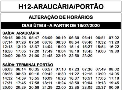 Horário de ônibus H12 ARAUCÁRIA / PORTÃO 2021   Araucária PR