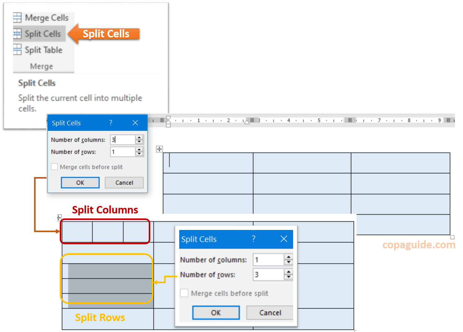 How to Split Cells in MS-Word Hindi Notes