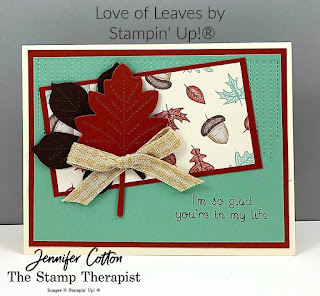"This fall card uses Stampin' Up!®'s Love of Leaves Bundle, Gilded Autumn Specialty Designer Paper, Stampin' Cut & Emboss Machine, and 3/8"" Embroidered Ribbon.  Link to video is on the blog.  #StampTherapist #Stampinup"