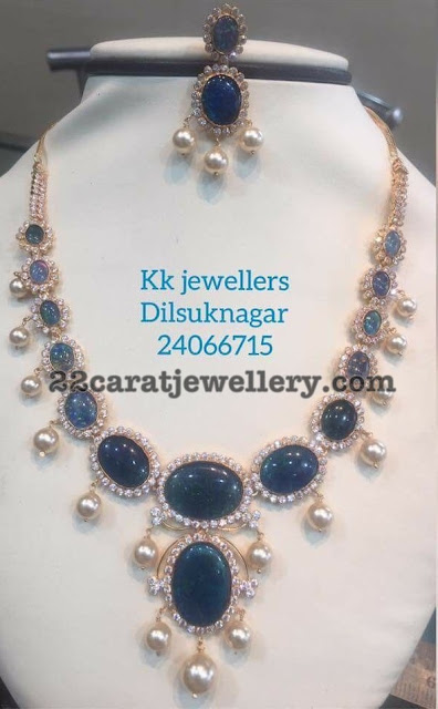 CZ Emerald Necklace by KK Jewellers