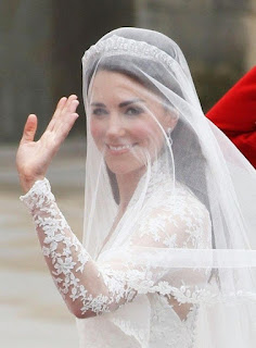 Beautiful Kate Middleton Wedding Hairstyle with veil over face