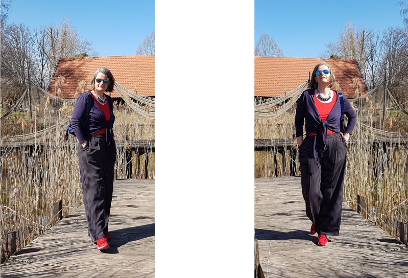 Ammersee: Maritim kombiniert - Marlenehose, Strickbolero und rote Sneaker.
