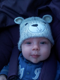 Gorgeous smile, baby boy, bear hat