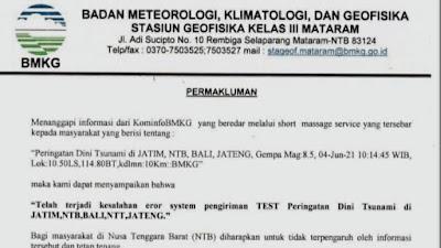 BMKG Mataram Klarifikasi Soal SMS Peringatan Dini Tsunami di NTB