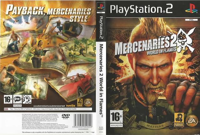 Descargar Mercenaries 2 - World in Flames ps2 iso NTSC-PAL. Es un videojuego desarrollado por Pandemic Studios y publicado por Riley Donnelly y Electronic Arts.