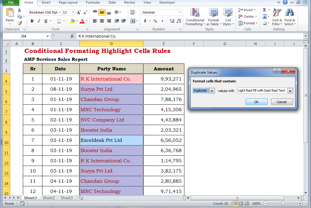 Conditional Formatting Highlight Cells Rules useful MS Excel Function for Data analysis exceldesk.in