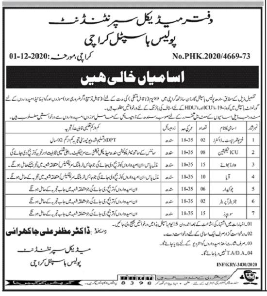 sindh-police-hospital-jobs-2020-advertisement-karachi