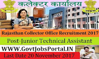 Rajasthan Collector Office Recruitment 2017– 73 Junior Technical Assistant & Accounts Assistant