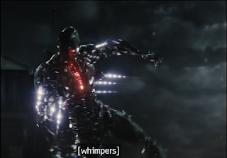 """A shot of Cyborg learning to fly. The closed captioning text reads """"whimpers."""""""