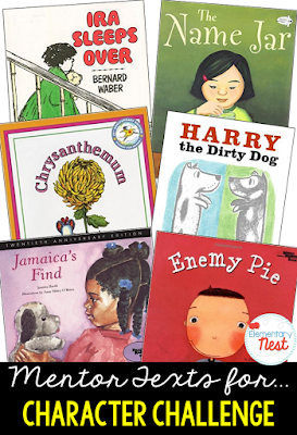 Primary mentor text suggested book list for character challenge and response- RL2.3, RL3.3- identify the way that characters can change through the story- problem and solution