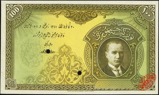 Turkey Currency 100 Turkish Lira banknote 1927 President Mustafa Kemal Atatürk