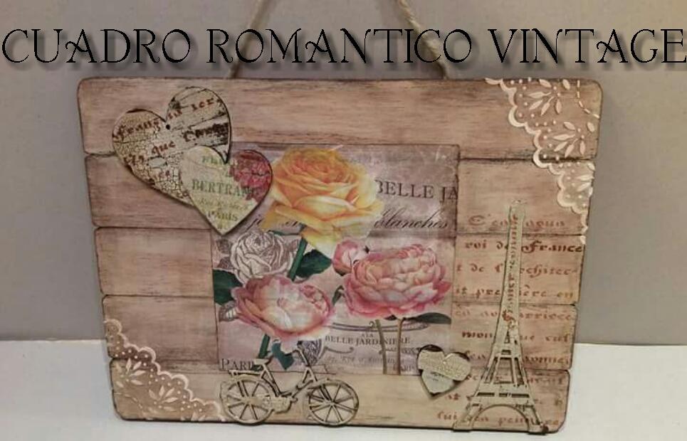 Cuadro de madera vintage rom ntico paso a paso decoupage - Cuadros vintage madera ...