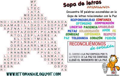 Sopa de letras, Sopa de letras estrellada, Semana por la Paz, Ingredientes para la Paz