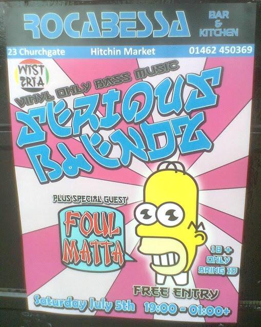 Homer Simpson at Rocabessa Bar in Hitchin 28 June 2014
