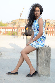 Actress Priyankha Stills in Floral Short Dress at Golmal Gullu Movie Pressmeet 0333.JPG