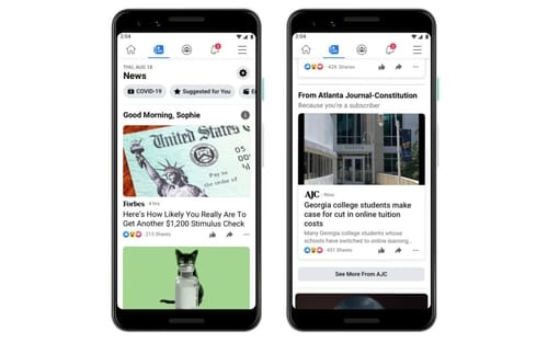 Facebook connects users to their news feed