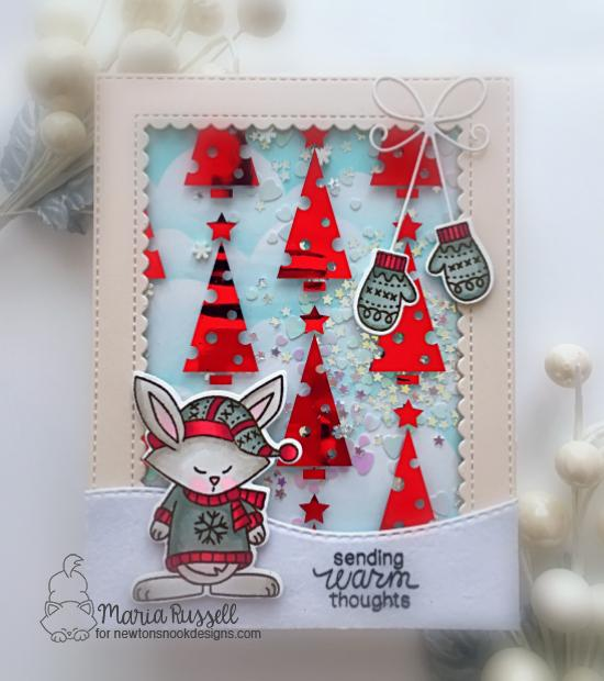 Newton's Nook Designs & Therm O Web Inspiration Week - Winter Sweater card by Maria Russell | Sweater Weather Stamp Set by Newton's Nook Designs and Flock Transfer Sheets and Foils by Therm O Web #newtonsnook #thermoweb