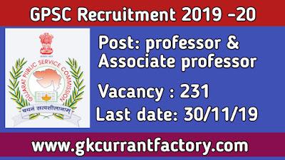 GPSC professor and Associate professor Recruitment, Gpsc Recruitment