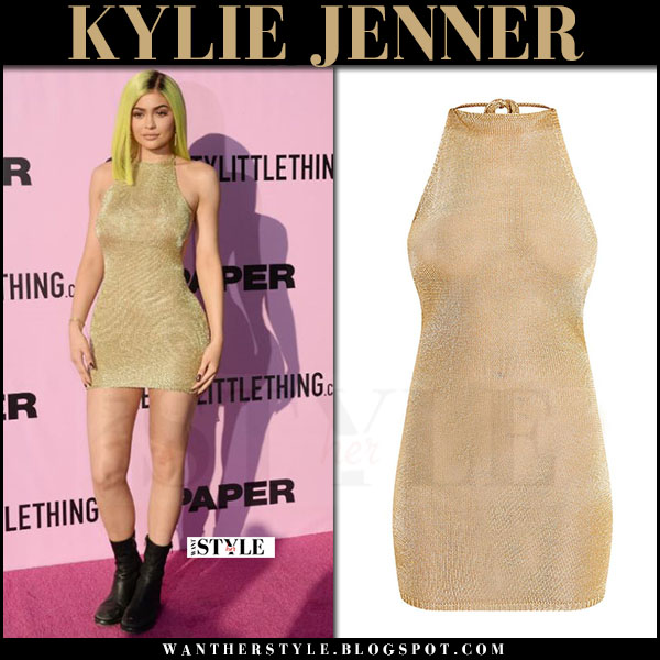 Kylie Jenner in gold knitted mini dress pretty little thing what she wore coachella 2017