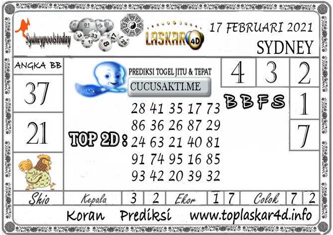 Prediksi Togel SYDNEY LASKAR4D 17 FEBRUARI 2021