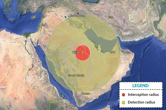 Map Attribute: The interception and detection radius of a THAAD system hypothetically deployed in Riyadh / Source: Google Maps / Over the top illustration by the author