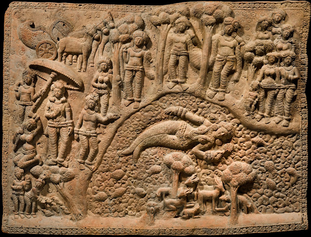 Terracotta plaque depicting mermaid from Chandraketugarh, India, 2nd century BC.