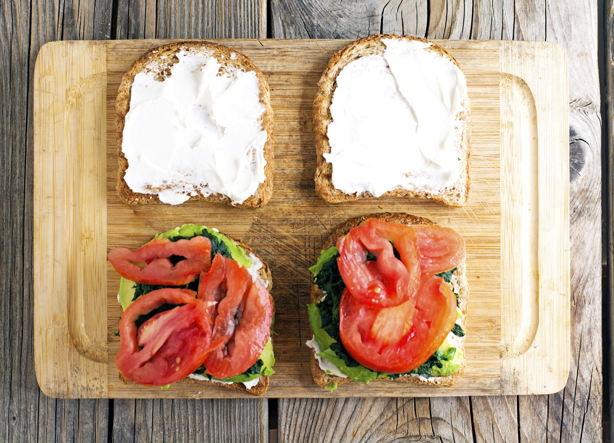 Bacon, Spinach, Avocado and Tomato Sandwich with Goat Cheese