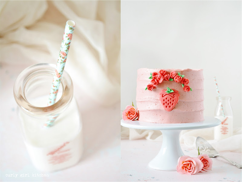 Strawberry Cake, From Scratch Strawberry Cake, Cake Decorating Ideas, Fondant Rose Cake, Pink Cake, Girl's Birthday Cake, Cake with Flowers