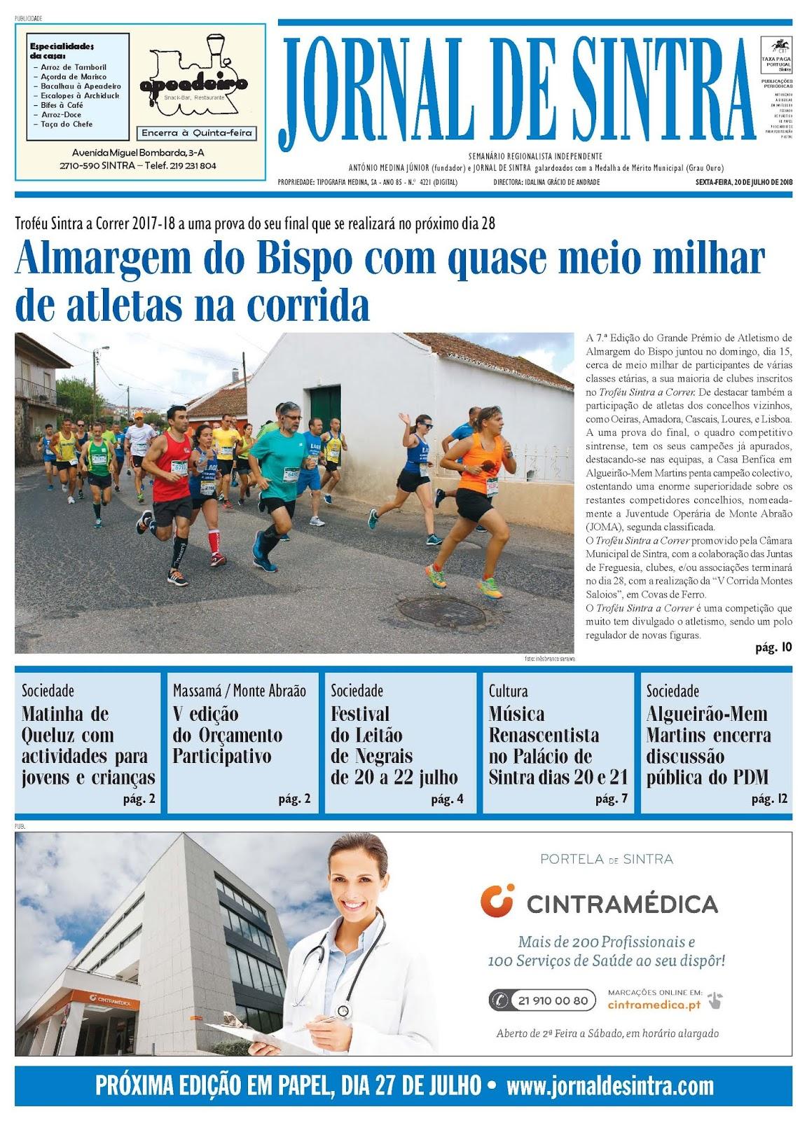 Capa da edição de 20-07-2018