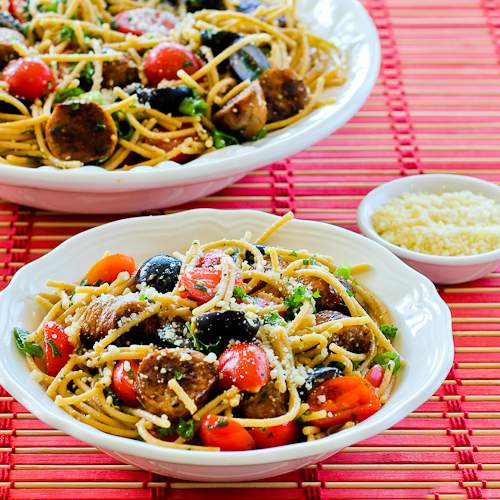 Whole Wheat Spaghetti Salad with Italian Sausage, Tomatoes, Olives, and Basil Vinaigrette from KalynsKitchen.com