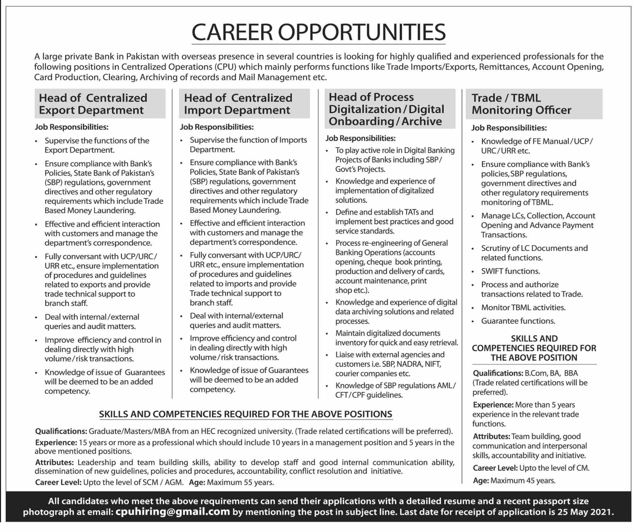 Large Private Bank in Pakistan Jobs 2021 in Pakistan