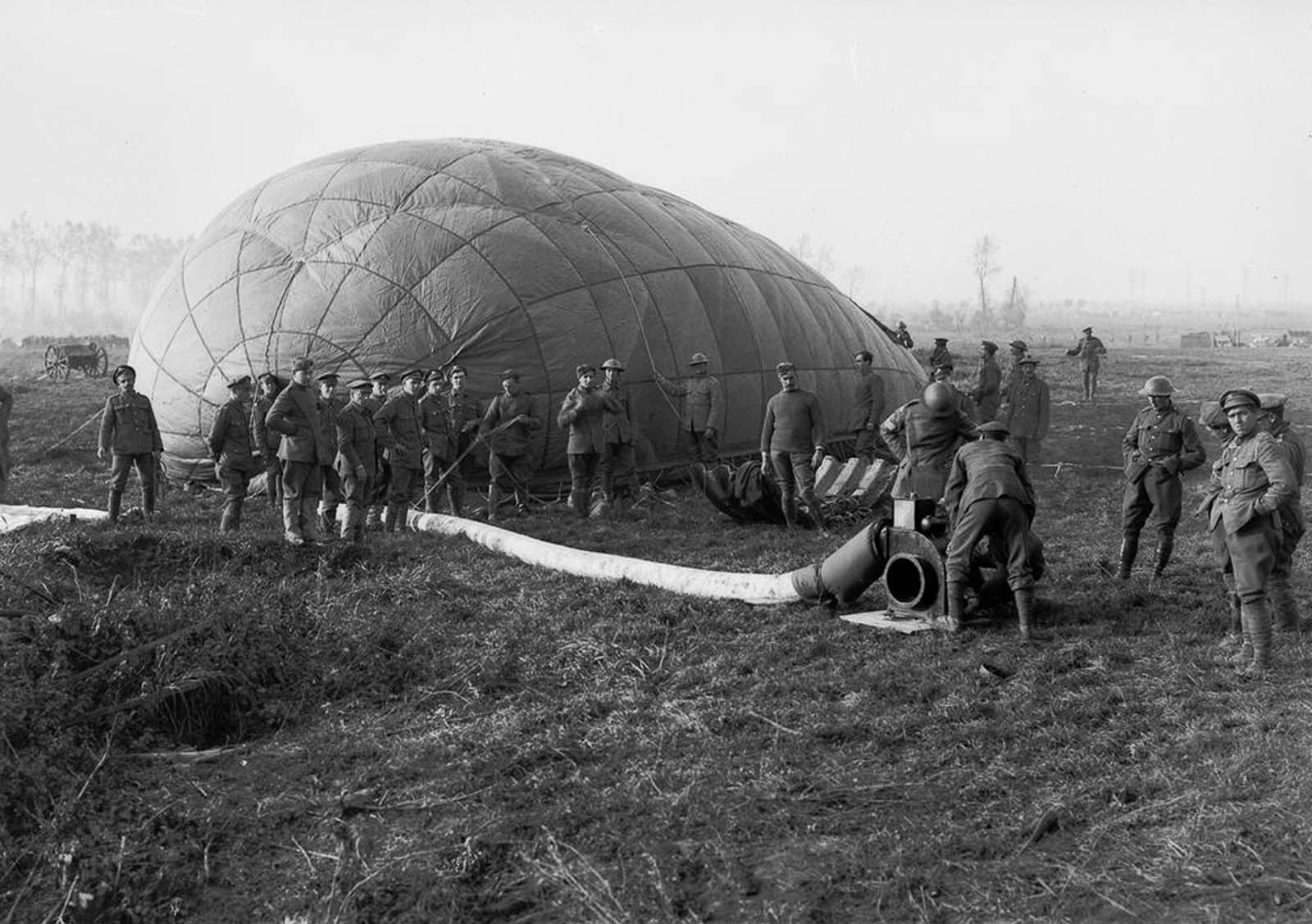 An observation balloon is inflated near Ypres, Belgium. 1917.