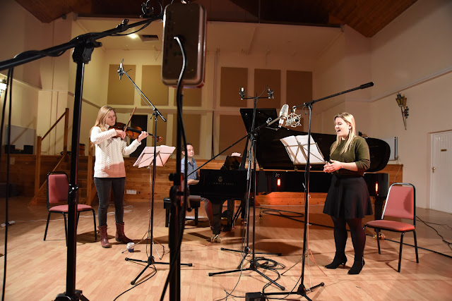 Rosalind Ventris, William Vann and Anna Huntley recording Quickening at Potton Hall, November 2016