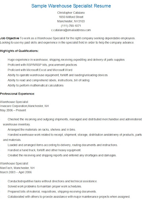 resume samples  sample warehouse specialist resume