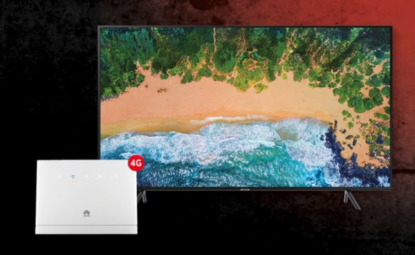 Samsung 65-inch UHD Smart TV + Huawei B315 Wi-Fi router + 20GB data – R499pm x 36