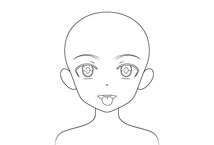 Gadis anime membuka mulut lidah keluar detail menggambar